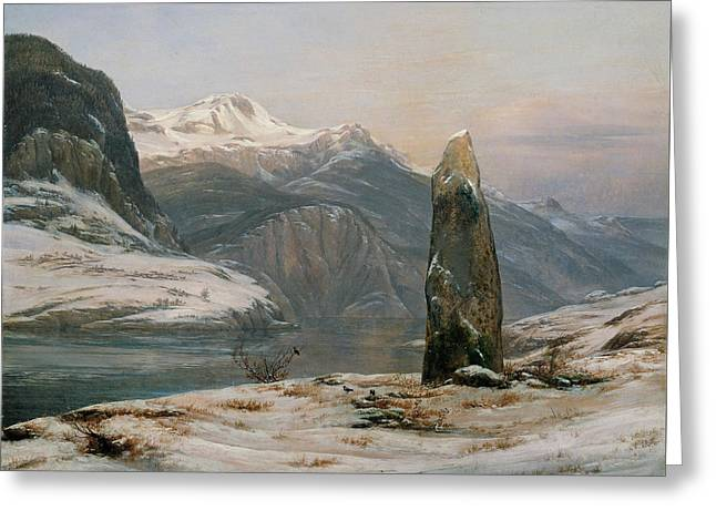 Winter At The Sognefjord Greeting Card by Johan Christian Dahl