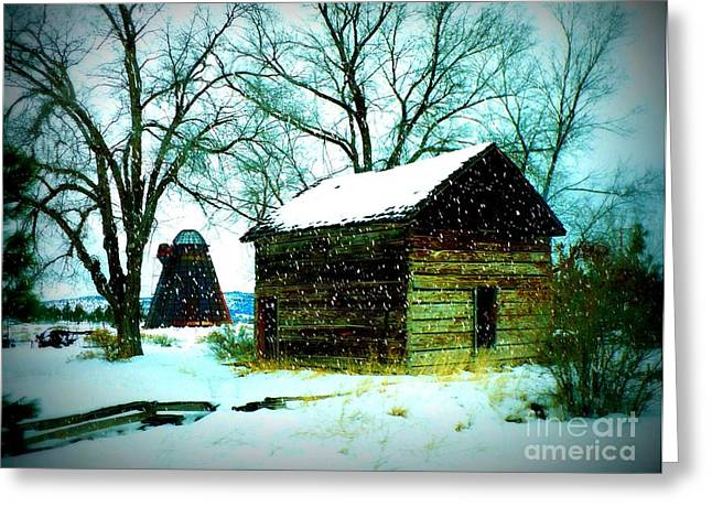 Winter Barn And Silo Greeting Card