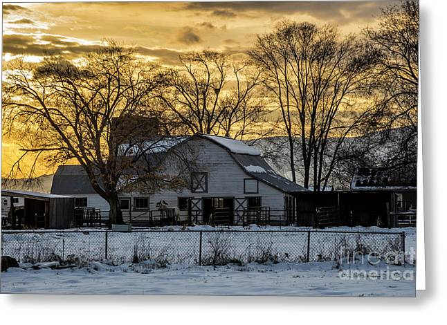 Greeting Card featuring the photograph Winter Barn At Sunset - Provo - Utah by Gary Whitton