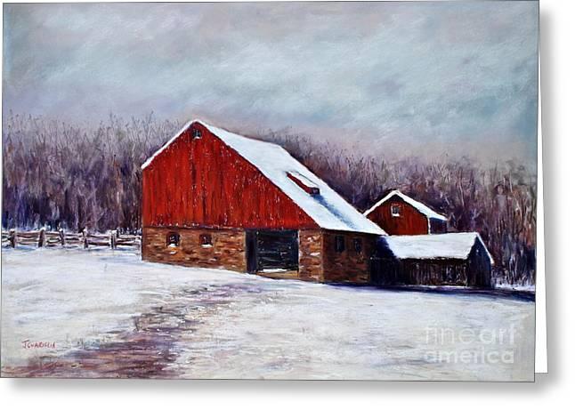 Winter Barn Bucks County Pennsylvania Greeting Card by Joyce A Guariglia