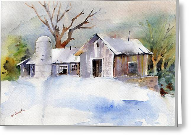 Winter Barn Greeting Card by P Anthony Visco
