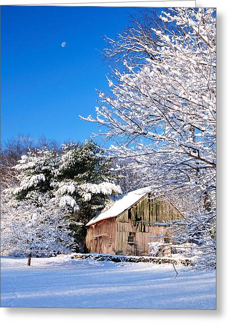 Winter Barn Scene-warren Ct Greeting Card