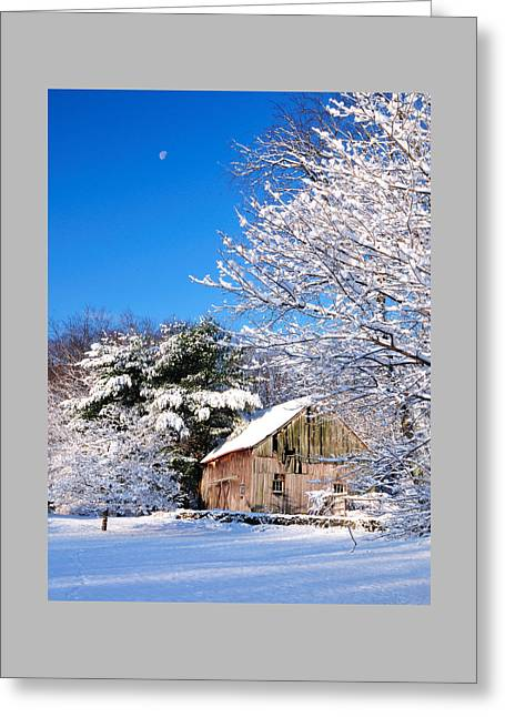 Winter Barn Scene-warren Ct Greeting Card