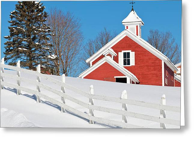 Winter Barn Scenic Greeting Card by Alan L Graham