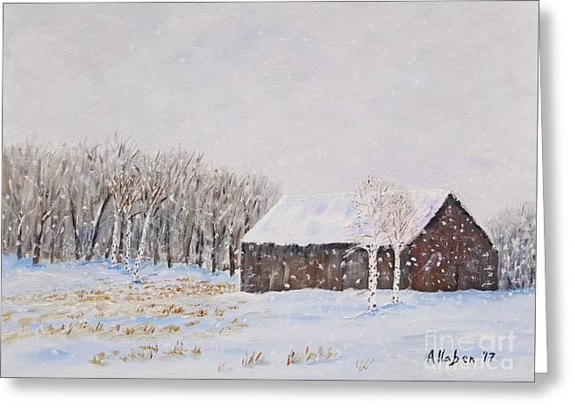 Winter Barn Greeting Card by Stanton Allaben
