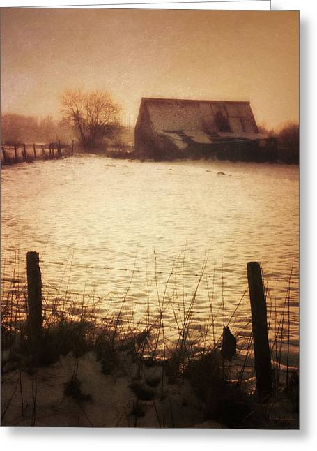Winter Barn Greeting Card by Wim Lanclus