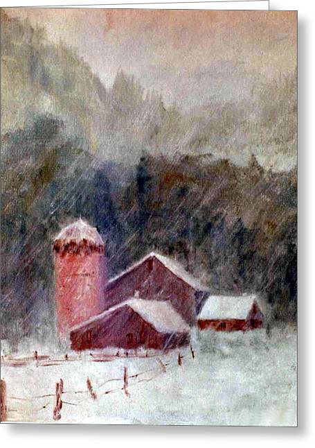 Winter Barns Greeting Card