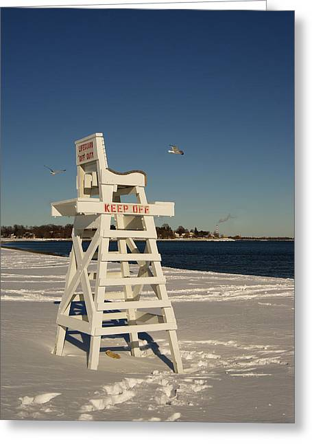Winter Beach At Penfield  Greeting Card