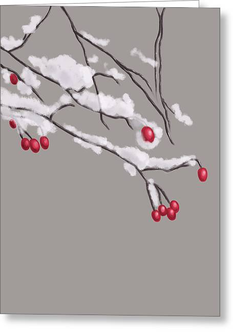Winter Berries And Branches Covered In Snow Greeting Card