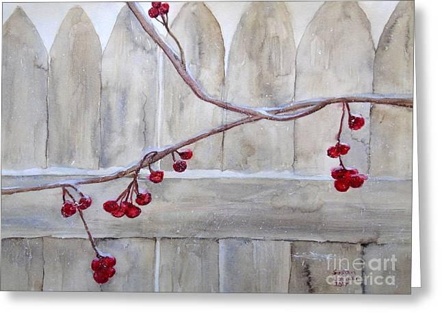Winter Berries Watercolor Greeting Card by Susan Lafleur