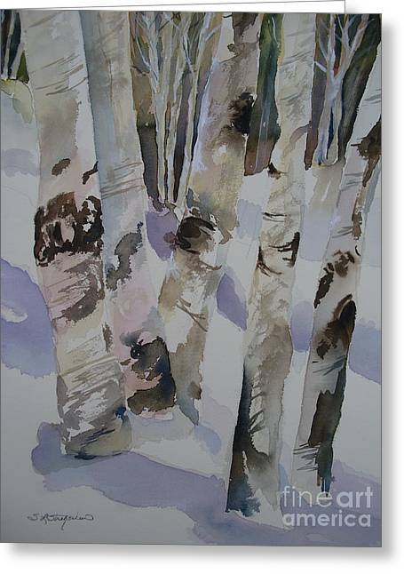 Greeting Card featuring the painting Winter Birches by Sandra Strohschein