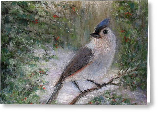 Berry Pastels Greeting Cards - Winter Bird Greeting Card by Susan Jenkins