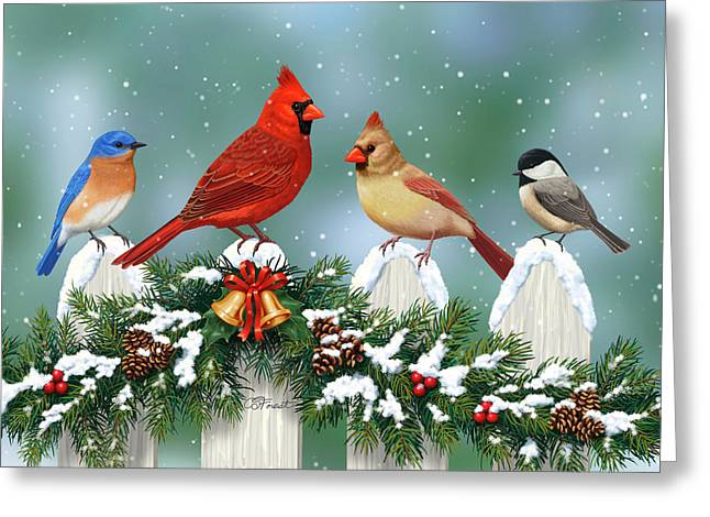 Winter Birds And Christmas Garland Greeting Card by Crista Forest