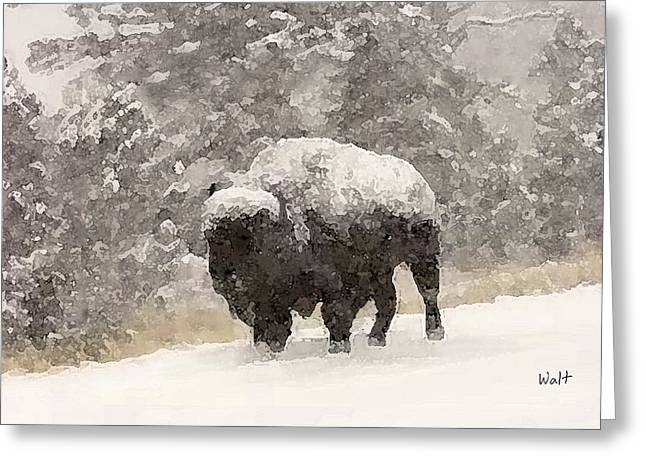 Winter Bison Greeting Card