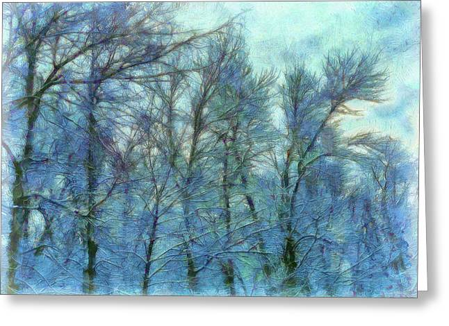 Winter Blue Forest Greeting Card