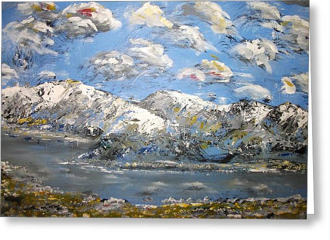 Greeting Card featuring the painting Winter Blues by Dan Whittemore