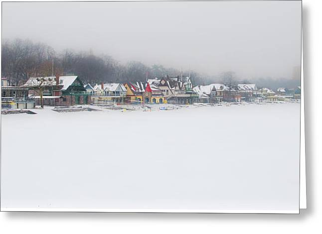 Winter - Boathouse Row - Schuylkill River Greeting Card by Bill Cannon