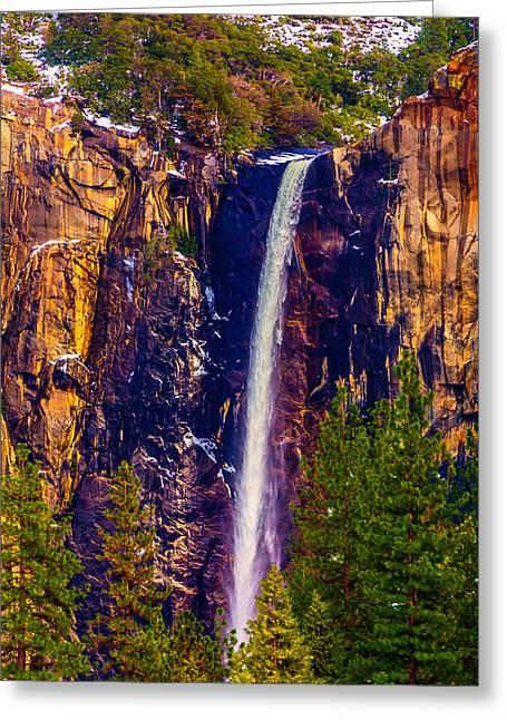 Winter Bridalveil Falls  Greeting Card by Garry Gay
