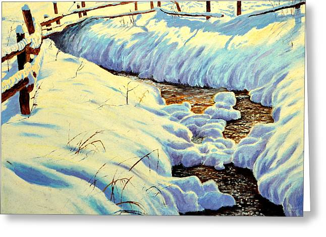 Winter Brook Greeting Card by Henryk Gorecki
