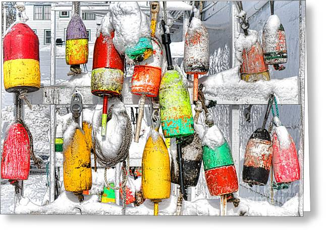 Winter Buoys Greeting Card by Olivier Le Queinec