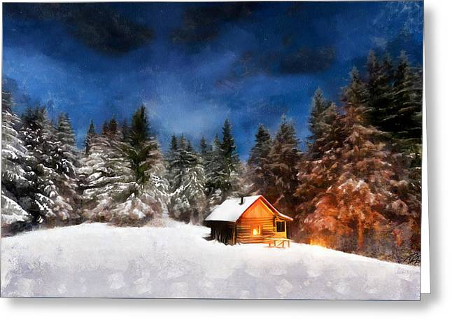Winter Cabin Greeting Card by Ryan Burton