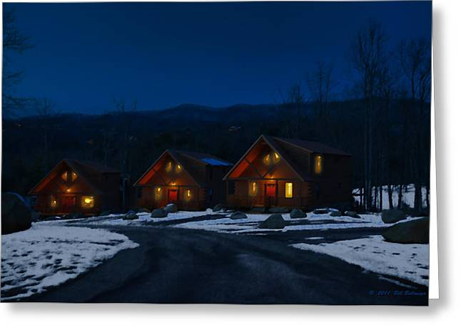 Winter Cabins Greeting Card