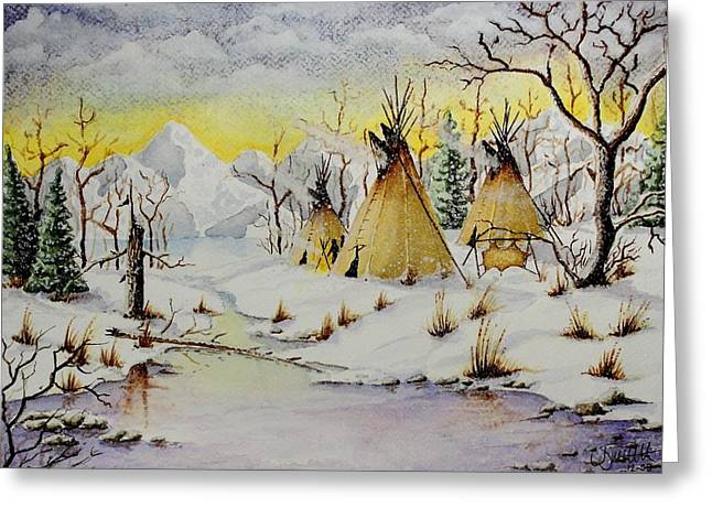 Winter Camp Greeting Card by Jimmy Smith
