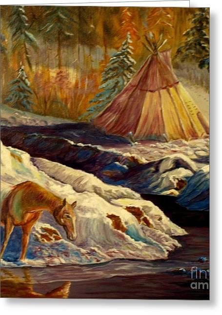 Winter Camping Greeting Card