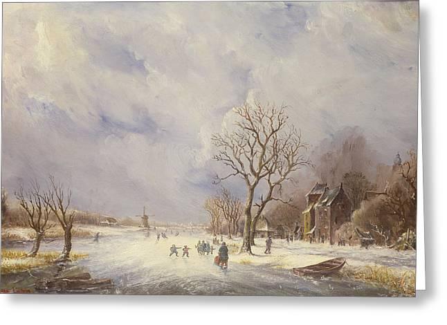 Winter Canal Scene Greeting Card by Jan Lynn