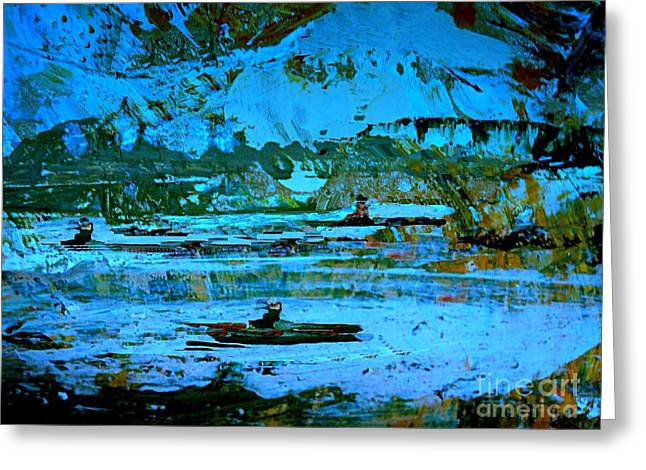 Winter Canoes Greeting Card