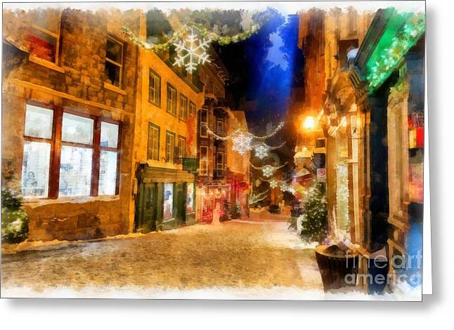 Winter Carnival Old Quebec City Lower Town Greeting Card
