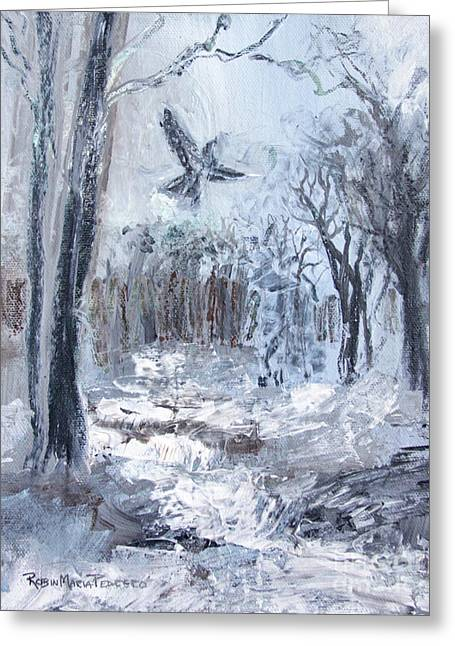 Greeting Card featuring the painting Winter Caws by Robin Maria Pedrero