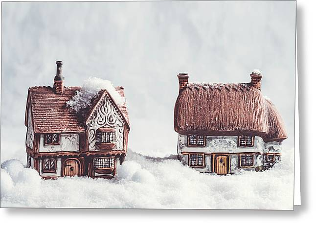 Winter Ceramic Cottages In Snow Greeting Card