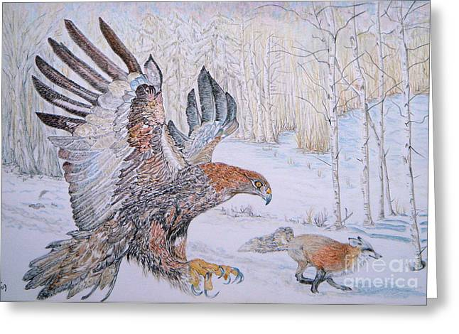 Woodland Scenes Drawings Greeting Cards - Winter Chase Greeting Card by Yvonne Johnstone