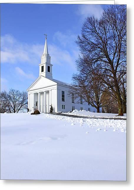 Winter Church Greeting Card by Evelina Kremsdorf