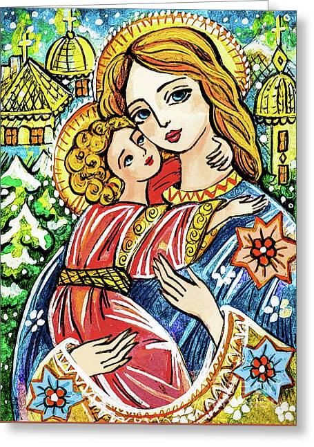 Greeting Card featuring the painting Winter Church by Eva Campbell