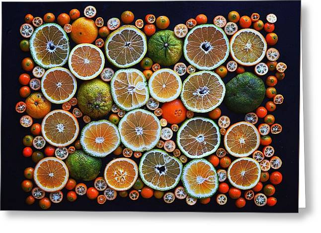 Winter Citrus Mosaic Greeting Card