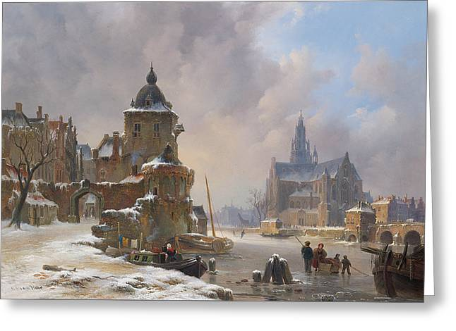 Winter Cityscape With Frozen River Greeting Card by Bartholomeus van Hove