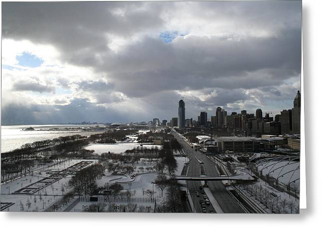 Winter Clouds Over Grant Park Greeting Card by Gregory Jeffries
