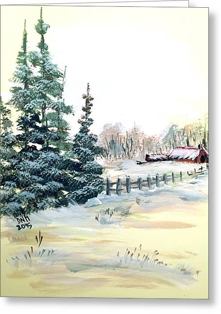 Winter Comes At The Farm  Greeting Card