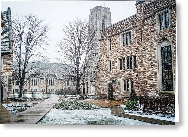 Winter Comes To The Campus Greeting Card by Rudy Owens