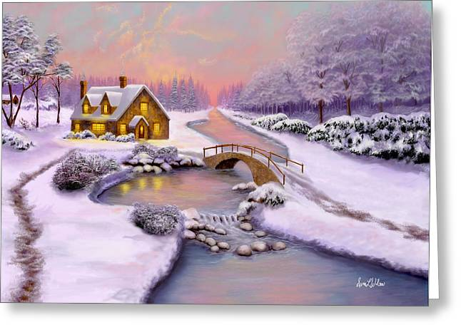 Greeting Card featuring the painting Winter Cottage by Sena Wilson