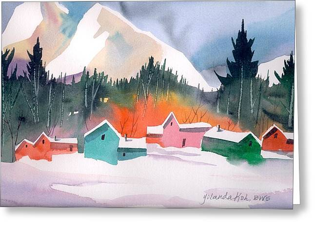 Winter Cottages Greeting Card by Yolanda Koh