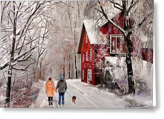 Winter Country Walk Greeting Card by Bill Dunkley