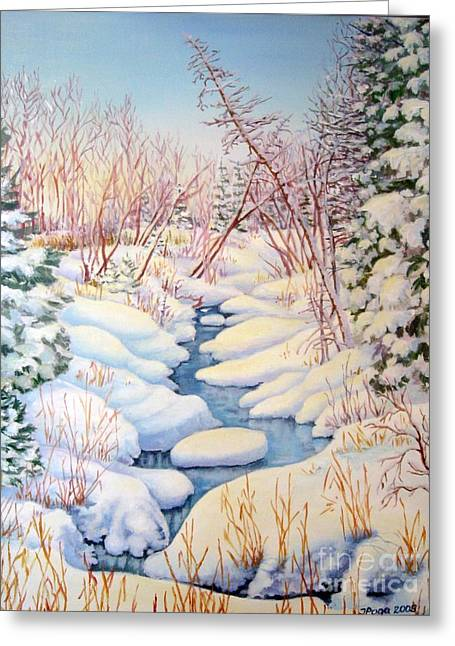 Greeting Card featuring the painting Winter Creek 1  by Inese Poga