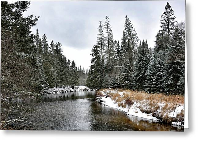 Greeting Card featuring the photograph Winter Creek In Adirondack Park - Upstate New York by Brendan Reals