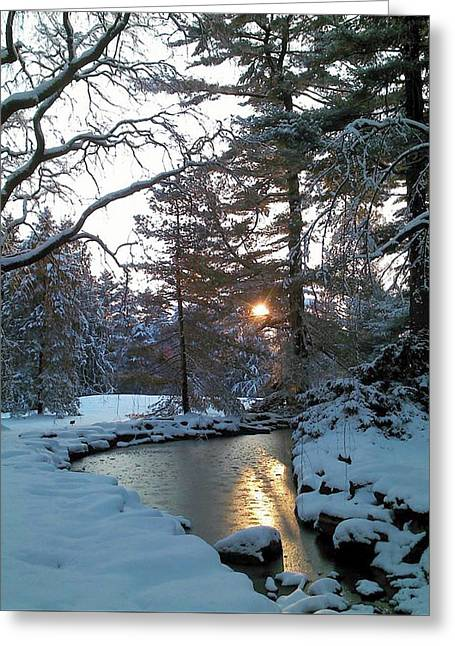 Greeting Card featuring the photograph Winter Creek by Melinda Blackman