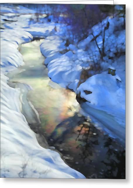Winter Creek Greeting Card by Theresa Tahara