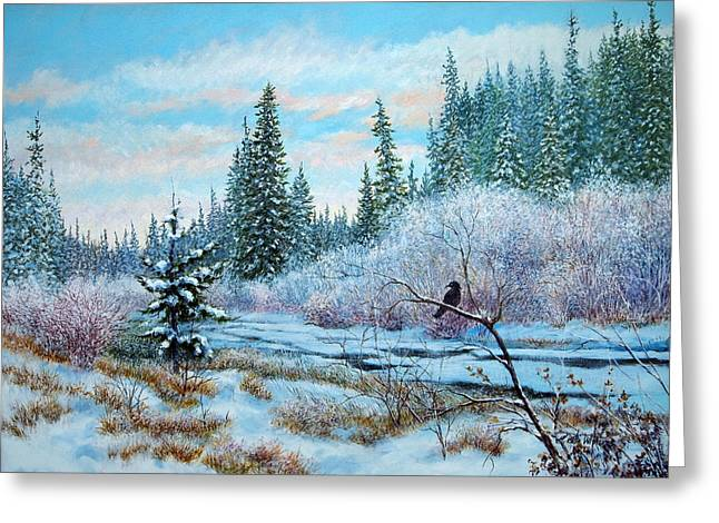 Winter Creek With Crow Greeting Card