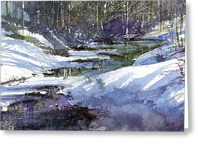 Winter Creekbed Greeting Card by Andrew King